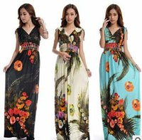 Wholesale Beach Dress Plus Size XL Dresses Women Summer Casual Clothing Bohemian Silk Floral V neck Maxi Dress Casual Vestido C99