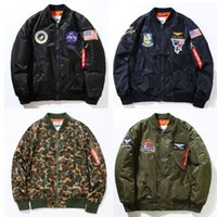 Wholesale NASA Rockets Embroidery Jackets Men Women The Union Flag Outerwear Brand Clothing US ARMY Military Camouflage Coats Windbreaker