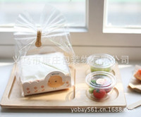 Wholesale Cute yellow chicks OPP transparent cake packing box of cookies folding packing box customized