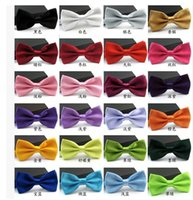 Wholesale high grade solid men boys tie bow Formal commercial bow tie fashion Plain Bowtie Polyester Wedding