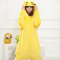 Wholesale Pokeman Go Girl s Pikachu Flannel One Piece Pajamas Animal Cartoon Adult Conjoined Pants Home Cosplay Casual Wear For Girls