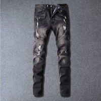 Wholesale 2016 hot Balmain Men s fashion hole ripped biker jeans Male casual vintage black patch washed denim pants Long trousers