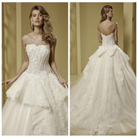 ball dress uk - 2016 Strapless Ball Gown Wedding Dresses Lace Appliques Chapel Modest With Bow Adorned Back Bridal Gowns Custom Online Western UK Fashion