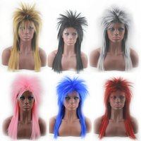 anime cosplay pink wig - Cosplay wig long straight synthetic wigs Hedgehog hairstyle anime wig white black red pink blue yellow colors