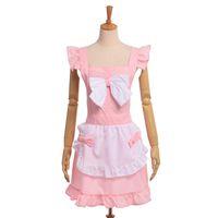 Femmes Tabliers Lolita Bow Fleuriste Lace Maid Cosplay Uniformes Cute Shop Baking Fille Tablier Robe Rose / Noir