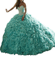 Wholesale Vestido Quinceanera Debutante Luxury Turquoise Sweet Dresses Princess Quinceanera Dresses Ball Gown