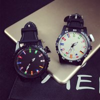 arrow table - Big dial female table tide Harajuku style zipper color arrow pointer male table couple watches personality flags