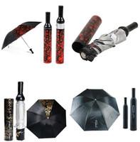 Wholesale In business styles Fashion Creative Three Folding Wine Bottle Sun rain Umbrella Gift Black Letter Print