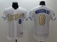 arrival mike - 8 Mike Moustakas New Arrivals MLB Kansas City Royals Jerseys Majestic White World Series Champions Gold Program MLB Baseball Jerseys