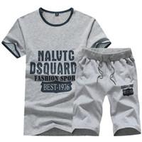 asian men clothing - Tracksuit Men Summer Track Suit Men Casual Clothes Sweatshirt Men Letter Printed Fashion Short Summer Sports Suit Asian Size