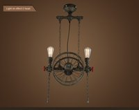 bedroom staging - American droplight Industrial retro Vintage pendant lamp wrought iron industry Creative restaurant hotel stage chandelier the wheel dropli