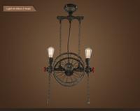 Wholesale American droplight Industrial retro Vintage pendant lamp wrought iron industry Creative restaurant hotel stage chandelier the wheel dropli