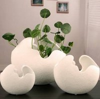 Wholesale Creative Ceramic Egg Shell Shaped Desktop Flower Pots Potted Plants Your Best Choice Suitable for both indoor and outdoor