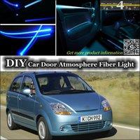 Wholesale Tuning Atmosphere Fiber Optic Band Lights For Chevrolet Matiz Door Panel illumination Refit DIY interior Ambient Light