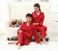 Wholesale Faux silk mens pajama sets men lovers sleepwear male sleep lounge Chinese red wedding Pijamas for women couple pajamas female pyjamas