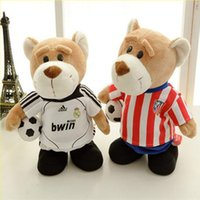 Wholesale 2016 New Hot World Cup Soccer Baby Teddy Bear Doll Plush Toys Music Bear Doll Electric Children s Birthday Present