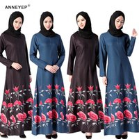 Wholesale 2016 New style elegant muslim dress printing flower dress Muslim prayer service New Arab Women Robes Ethnic Clothing
