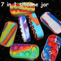 Wholesale silicone jars dab wax vaporizer oil container dab container wax silicone oil container ti nail DHL