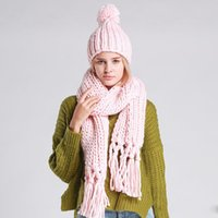 Wholesale 1 Set Women Hats Scarves Sets with tassel fashion Hat Female Winter Warm Woolen Knit Hooded Fashion Scarf And Hats Sets