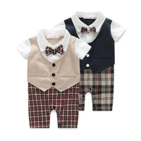 Wholesale new newborn baby rompers clothing baby boys clothes tie gentleman bow leisure toddler one pieces jumpsuit