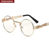 al por mayor lentes del marco de oro al por mayor-Al por mayor-Nuevos marcos redondos de oro de la moda gafas clara para las mujeres pequeñas gafas redondas steampunk Marcos de la vendimia para los hombres de metal empollón masculina