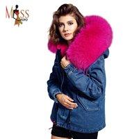 Wholesale 2016 new fashion woman denim Large raccoon fur collar hooded coat parkas outwear detachable liner warm winter jacket top quality