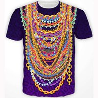 baroque chain print - Women men fashion hip hop tops Heavy Metals T Shirt Baroque style colorful chains d t shirt purple leopard t shirts sport tees
