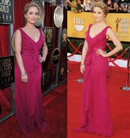Wholesale New Fuschia Chiffon Celebrity Red Carpet Dresses Deep V Neck Zipper Back Custom Party Evening Gowns