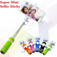 Wholesale Portable super Mini folding mobile phone Wired Selfie Sticks For iphone samsung galaxy Built in Shutter Camera Monopod Tripod