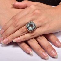 aquamarine and silver rings - Huge Aquamarine Sterling Silver Ring Factory Price For Women and Men Size F1516