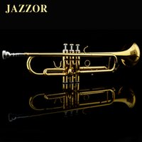 Wholesale JAZZOR Professional Beginner Trumpet B Flat Gold Lacquer trumpete trompeta with trumpet mouthpiece musical instruments JZTR