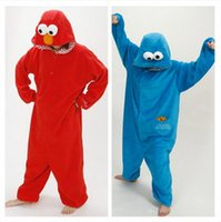 best l cosplay - 2016 best selling Unisex Onesie Hoodie Long Sleeve Cosplay Pajamas reet Elmo cookie monster Costume Adult romper pajamas