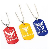 b necklace - Poke go Team Valor Instinct Mystic Stainless steel necklace cartoon Pikachu pendant Poke Ball glass alloy necklace keyring B
