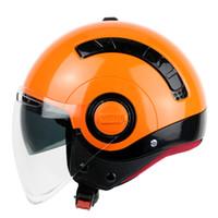 achat en gros de yohe l taille casque-Nouveau YOHE-mini Double lentille Half Face Moto moto moto Casques vélo électrique Avec visière transparente S M L XL taille