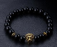lion charms - 2016 Hot Selling Men s Bracelet Natural Matte Frosted Bracelet Obsidian Agate Turquoise Bracelet Head Lion String of Beads Elastic Bracelet