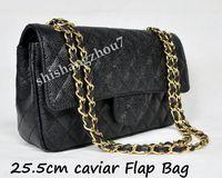 Wholesale 2017 Hot Black Caviar Double Flap Bags cm Classic flap bag cm Women Flap Handbag and retail Come with Box Shishangzhou7