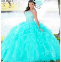 aqua specials - 2016 New Crystal Quinceanera Dresses Sweetheart Beading Ruffles Lace Up Ball Gown Sweet Aqua Prom Party Special Occasion Dress Plus Size