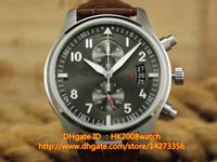 Wholesale New Luxury Pilot s Watch Spitfire Chronograph Stainless Steel Slate Dial mm Men s Watch New Goft Box
