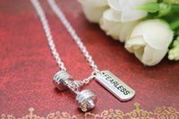 barbells and weights - 12pcs Fitness Weightlifting Gym necklace sports Dumbbell barbell weight and fearless charm pendant necklace