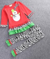 baby bell bottoms - 2016 autumn zebra bell bottoms Christmas snowman fold bow wave point child T shirt pieces suits girl baby clothes E440