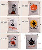 Wholesale 2016 hot Copia Sale Scornu Halloween Large Beam Port bags Drawstring Bag With Pumpkin devil spider Hallowmas Gift Bags