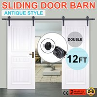 barn door tracking - 12FT Double Sliding Door Barn Hardware Double sliding barn door hardware rustic black barn sliding track set FT