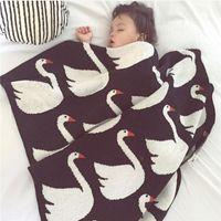 bedspread cotton thread - 100 cotton Baby blanket newborn child cartoon swan blanket Black White Cross Knitted Plaid For Bed Sofa BedSpread flannel