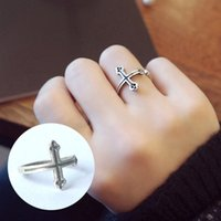 asian ancient art - S925 Korean star with money old antique silver retro art opening cross Ancient Silver Ring