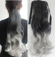 Extensión de la cola de caballo mujeres de pelo largo ondulado Ombre lazo de la cinta multicolor de dos tonos negros gradiente sintéticas Colas de caballo gris colas de caballo de pelo