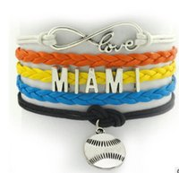 angeles anniversary gifts - infinity love MIAMI New York New Jersey Sports Bracelet Los Angeles DETROIT Baseball FLORIDA MINNESOTA alloy handmade woven diy bracelet