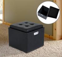 bedroom footstools - Storage Footstool PU Leather Wood Single Seat Box Bedroom Handle