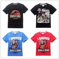 Wholesale 4 Styles Jurassic Park Boys cartoon short sleeves T shirt Kids Dinosaur T shirts Children summer Clothes size Style LA303
