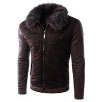 Wholesale Fall Mens Rabbit Fur Cap Leather Jacket Coats Winter Cheap Leather Jackets and Coats For Men Plus SIze Mens Fur Coats Leather S1909