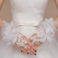 Wholesale 2016 Cheap short Bridal gloves lace bow wedding gloves fingerless beaded lace wedding gloves